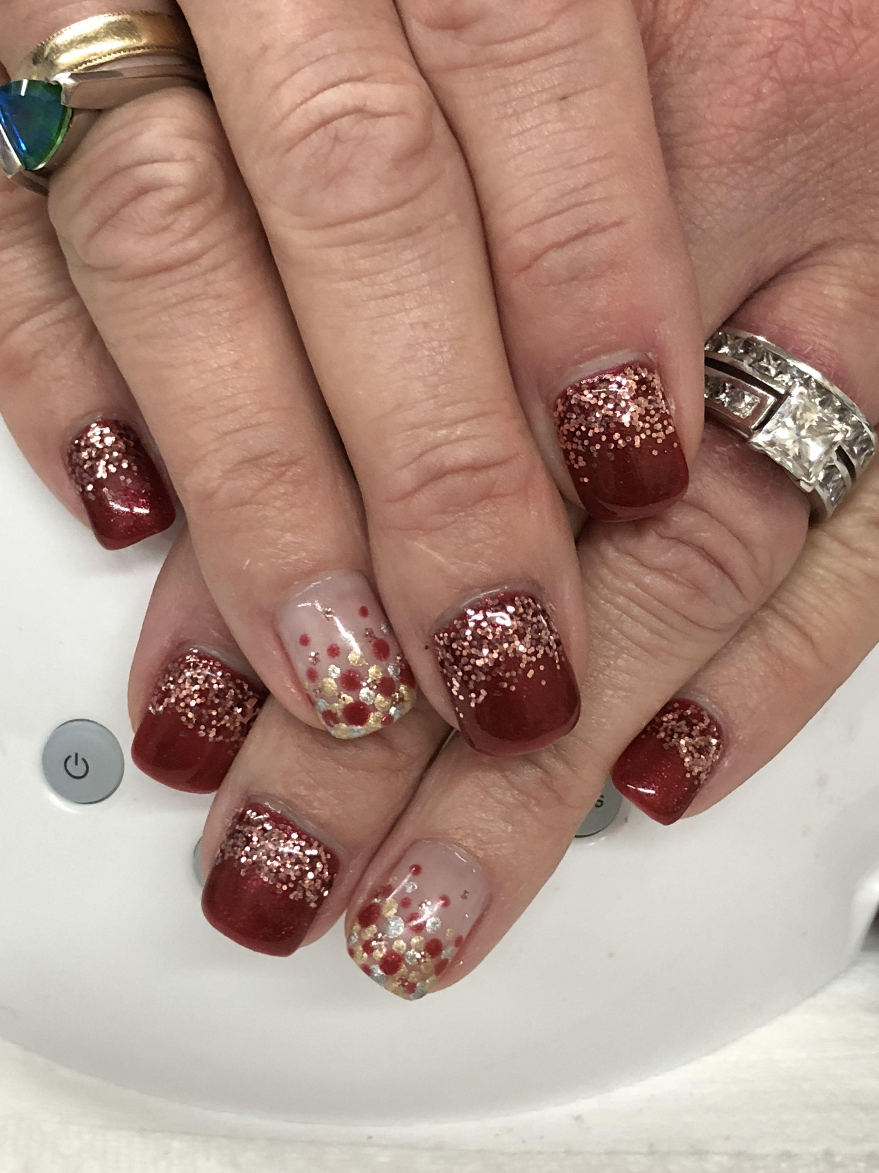 Fall Holiday Burgundy Rose Gold Glitter Ombre Gel Nails Light Elegance Perfectset Bette Davis Silver Gold Metal Gold Nails Gel Nail Light Ombre Gel Nails