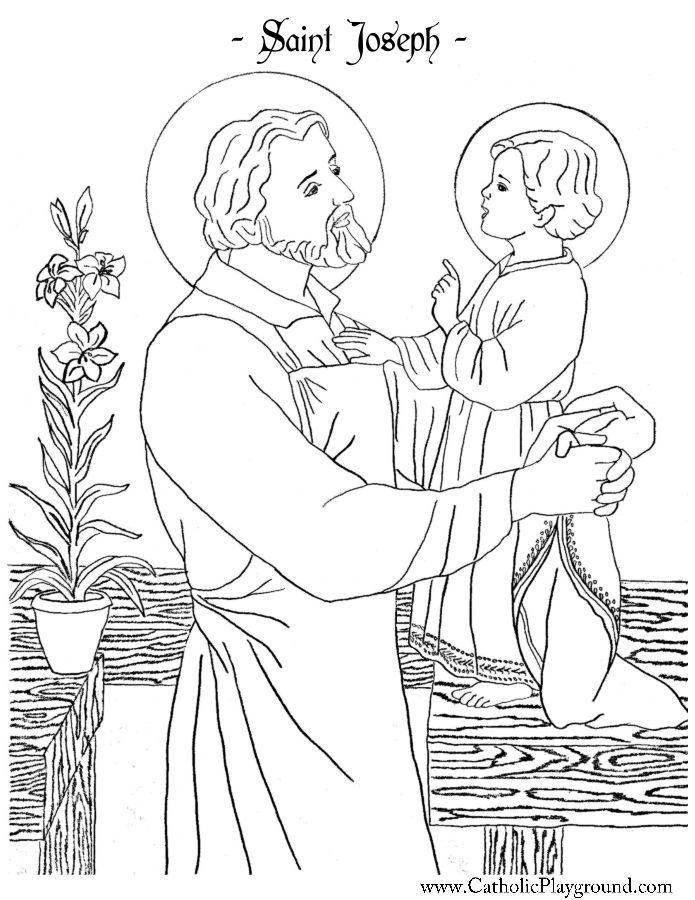 saint joseph coloring page catholic