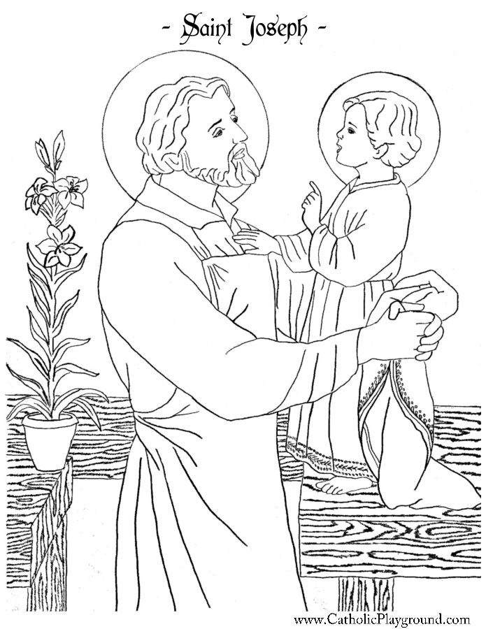 Saint Joseph Coloring Page Catholic Playground Saint Coloring