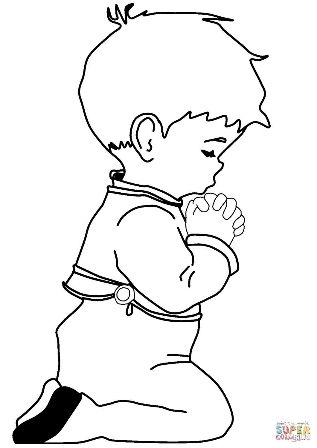 Praying Little Boy Coloring Page Free Printable Coloring Pages