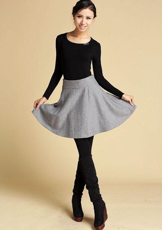 aa73672733 gray wool full Skater Skirt 358 by xiaolizi on Etsy, $25.00 ...