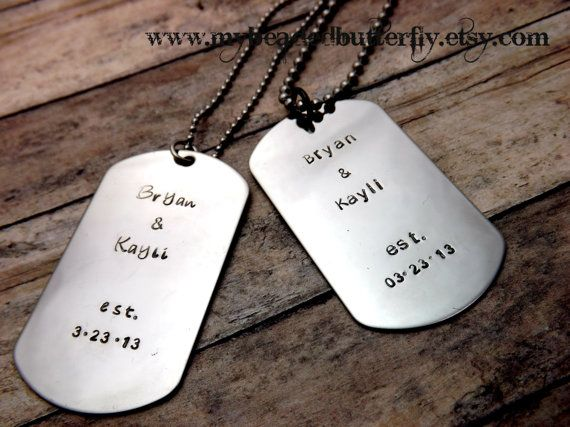 Wedding Gifts For Military Couples: Couples Necklace Set- Personalized Couples Necklace
