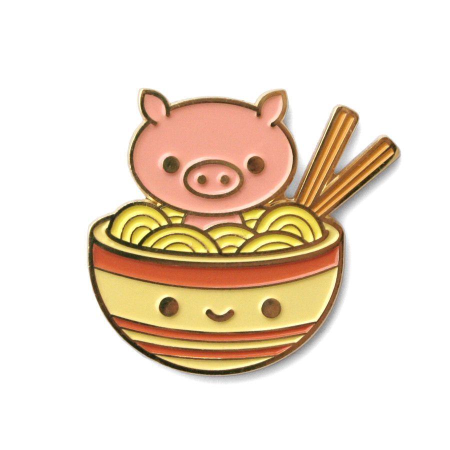 Pig Chan's Ramen Soak Soft Enamel Pin