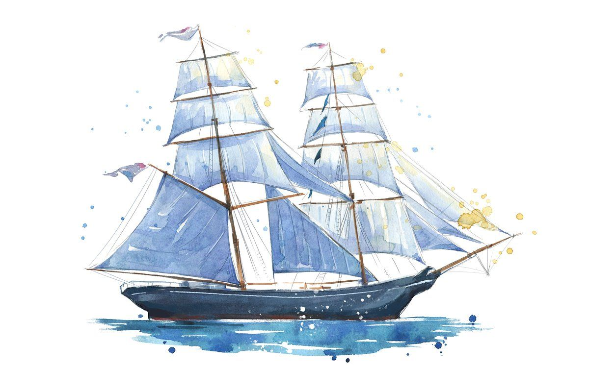 Cartoon Watercolor Pattern Childrens Sailing Pattern Boat Rudder Boat Cartoon Pirate Ship Sailboat Png Transparent Clipart Image And Psd File For Free Downlo Boat Cartoon Watercolor Pattern Boat Illustration