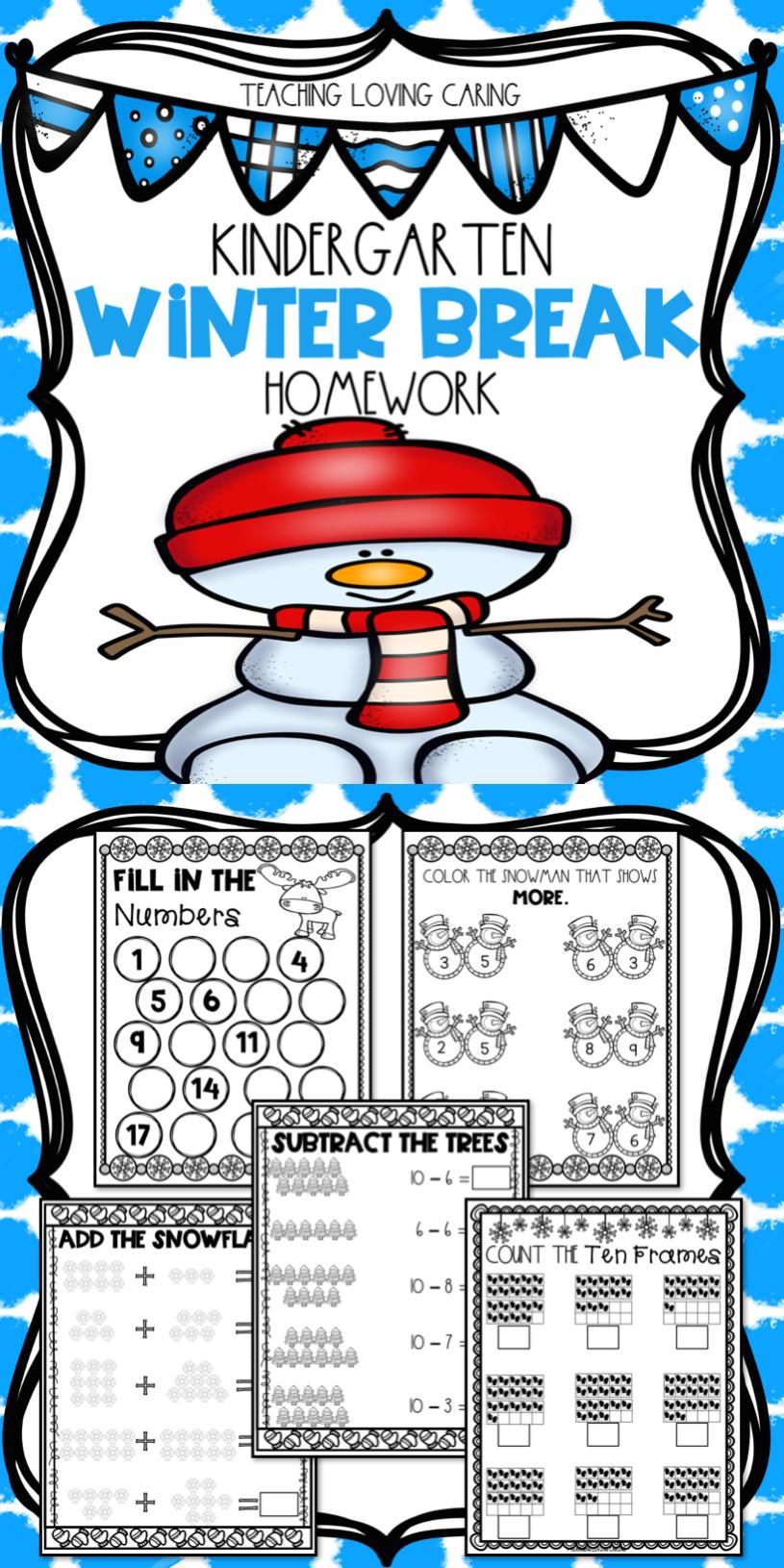winter break packet kindergarten my teachers pay