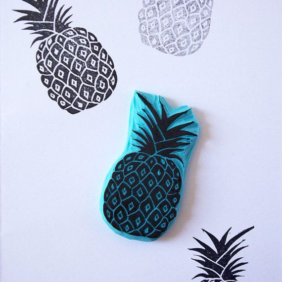 This is a rubber stamp of a pineapple for your tropical ideas. Perfect for summer projects. Stamp it in cards, tags, invitations, tea towels, fabric, pin cushions, notebooks and much more! - Size of stamp: 2 1/4