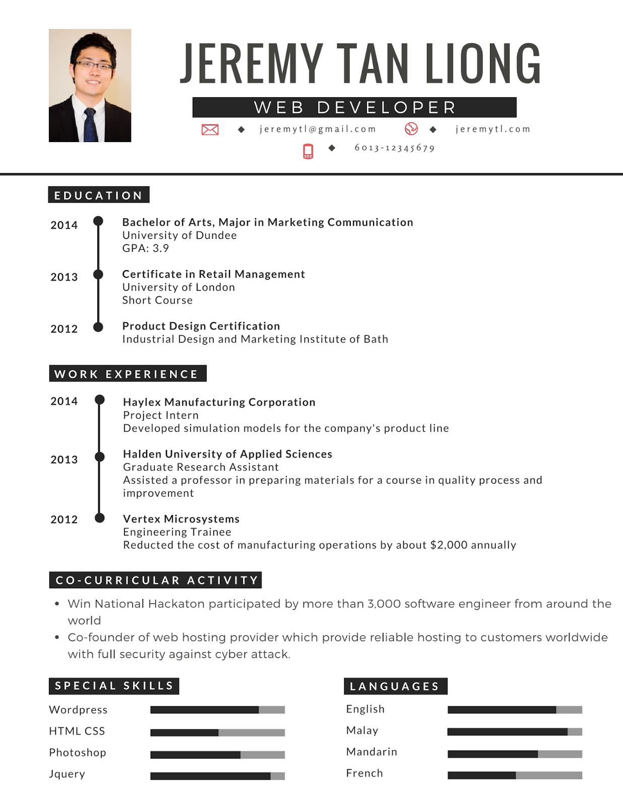 Contoh Resume Terbaik, Lengkap Dan Terkini Riwayat hidup