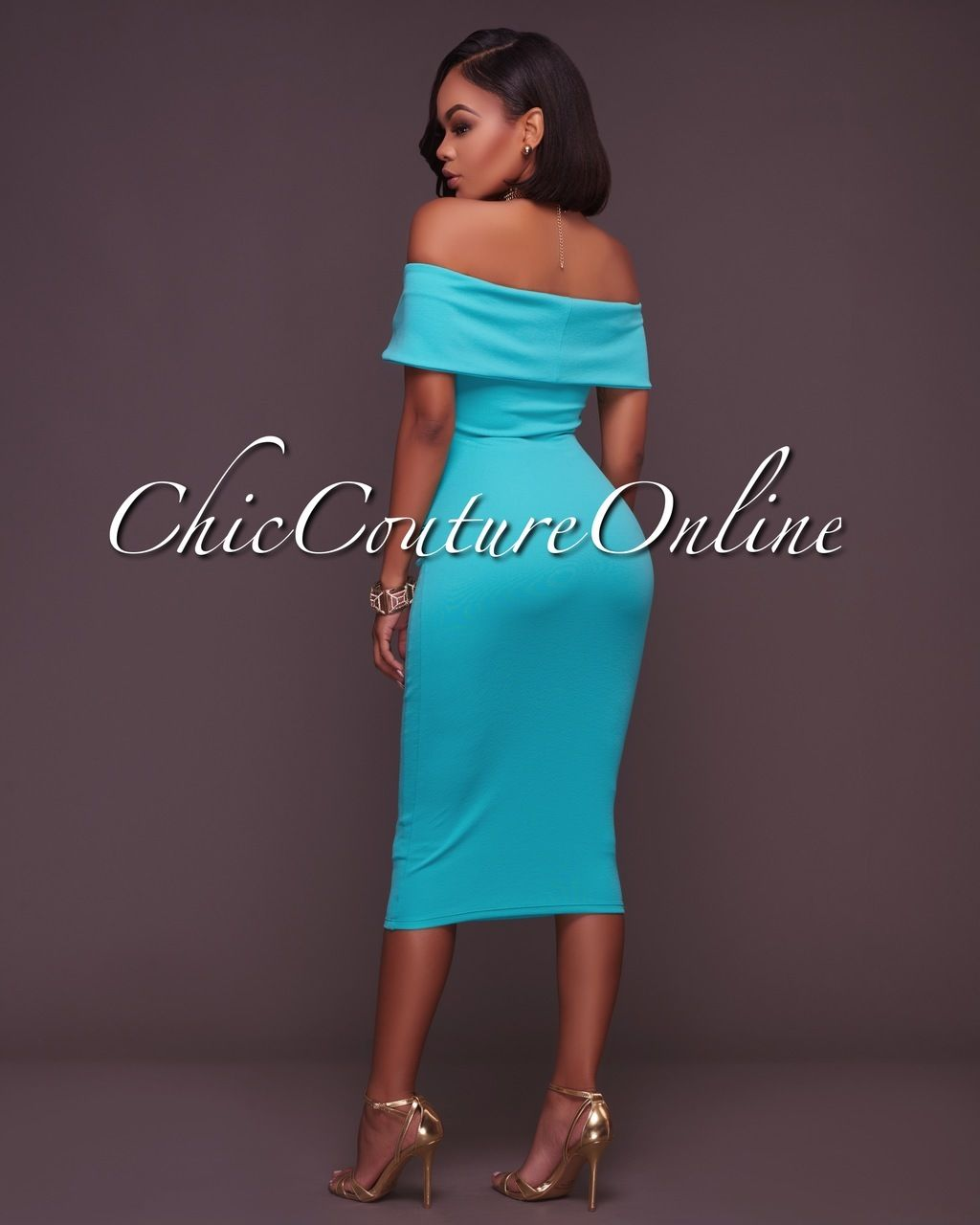 Chic Couture Online - Lizzie Mint Green Ruched Off-The-Shoulder Midi ...