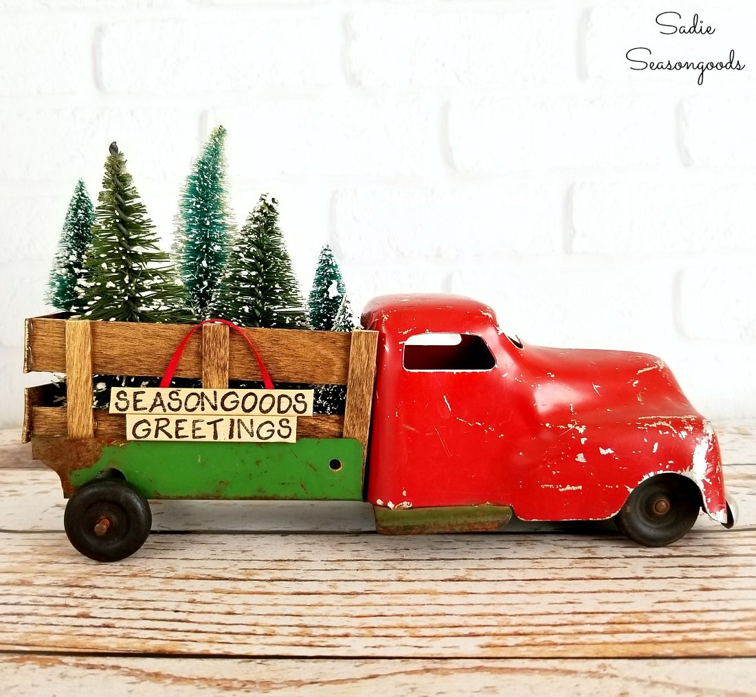 Old Red Truck With Christmas Tree In Back.Diy Red Truck With Christmas Trees As Simple Rustic