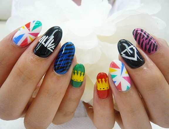 The most killer big bang inspired nail art bangs art nails and big bang nail art x2 prinsesfo Image collections