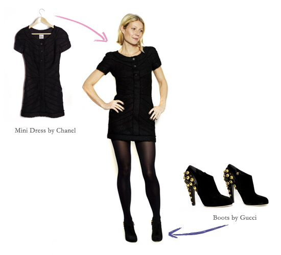 cocktail dress with tights and booties