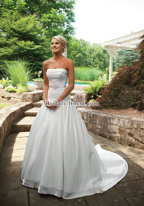 Draping Ball Gown Applique Court Train Lace Wedding Dress