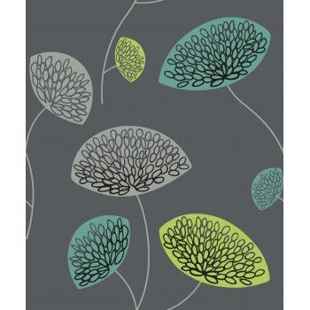 Sensation Dandelion Wallpaper Lime / Teal / Grey 227272 By GranDeco Part 78