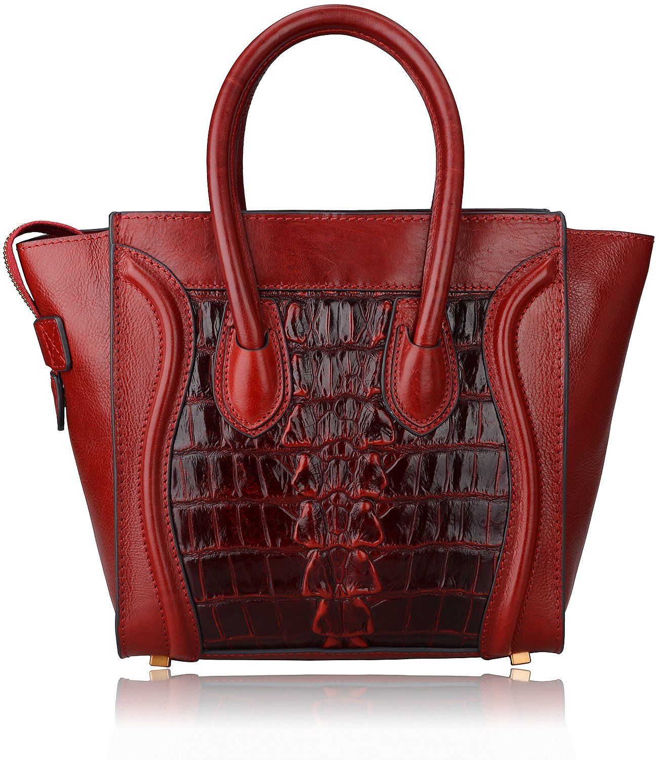 Pijushi Simple Euro Style Ladies Bags Crocodile Embossed Leather Tote Purse  Top Handle Handbags for Women (Model 6011, New Small size Tail Red) b17c2335b0