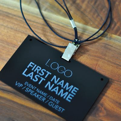 Laser Engraved Black Acrylic Conference And Event Badges