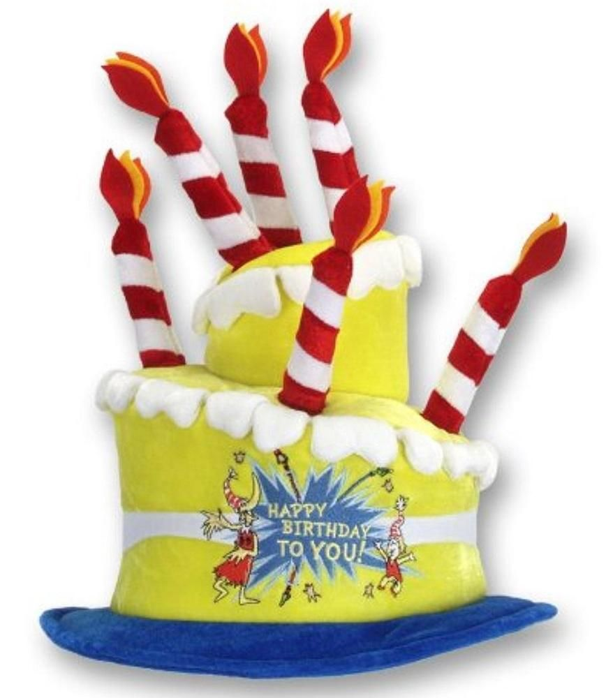 Happy Birthday Cake Hat Dr Seuss Fancy Dress Halloween Adult Costume Accessory Elope
