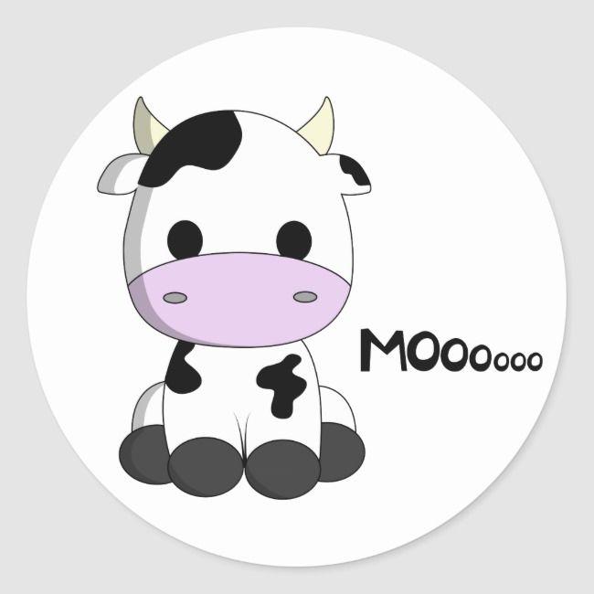 Cute Kawaii Cow Cartoon Kids Round Sticker Zazzle Com In 2021 Cute Baby Cow Cartoon Cow Animated Cow
