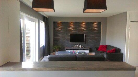 Wanden in woonkamer voorzien met 3D wandpaneel Wave.   Wanddecoratie ...