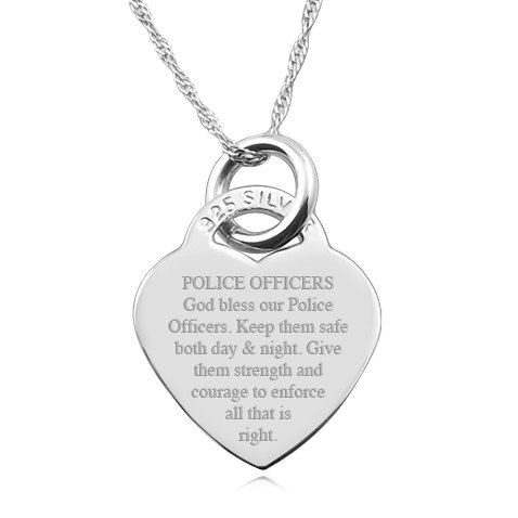Police Officers Prayer 925 Silver Heart By Personalisedgift