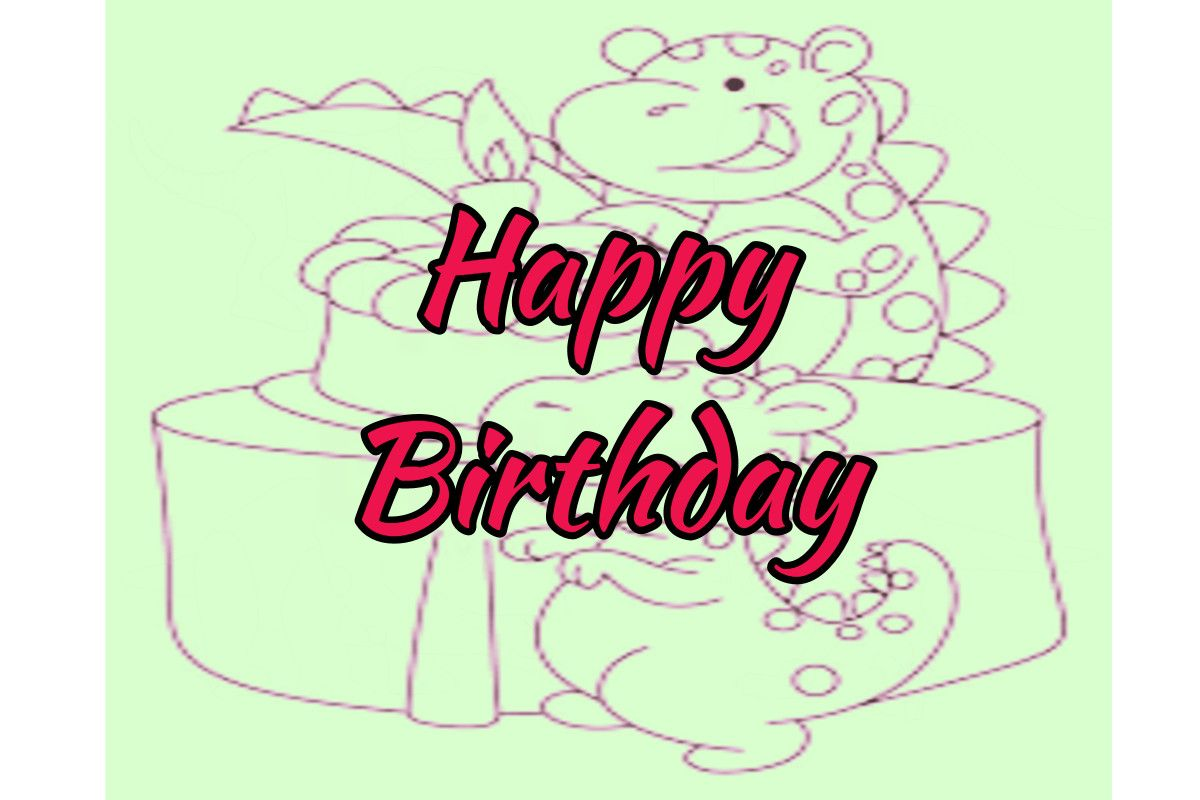 Birthdays Card to color from Dinosaur Coloring Pages For Kids ...