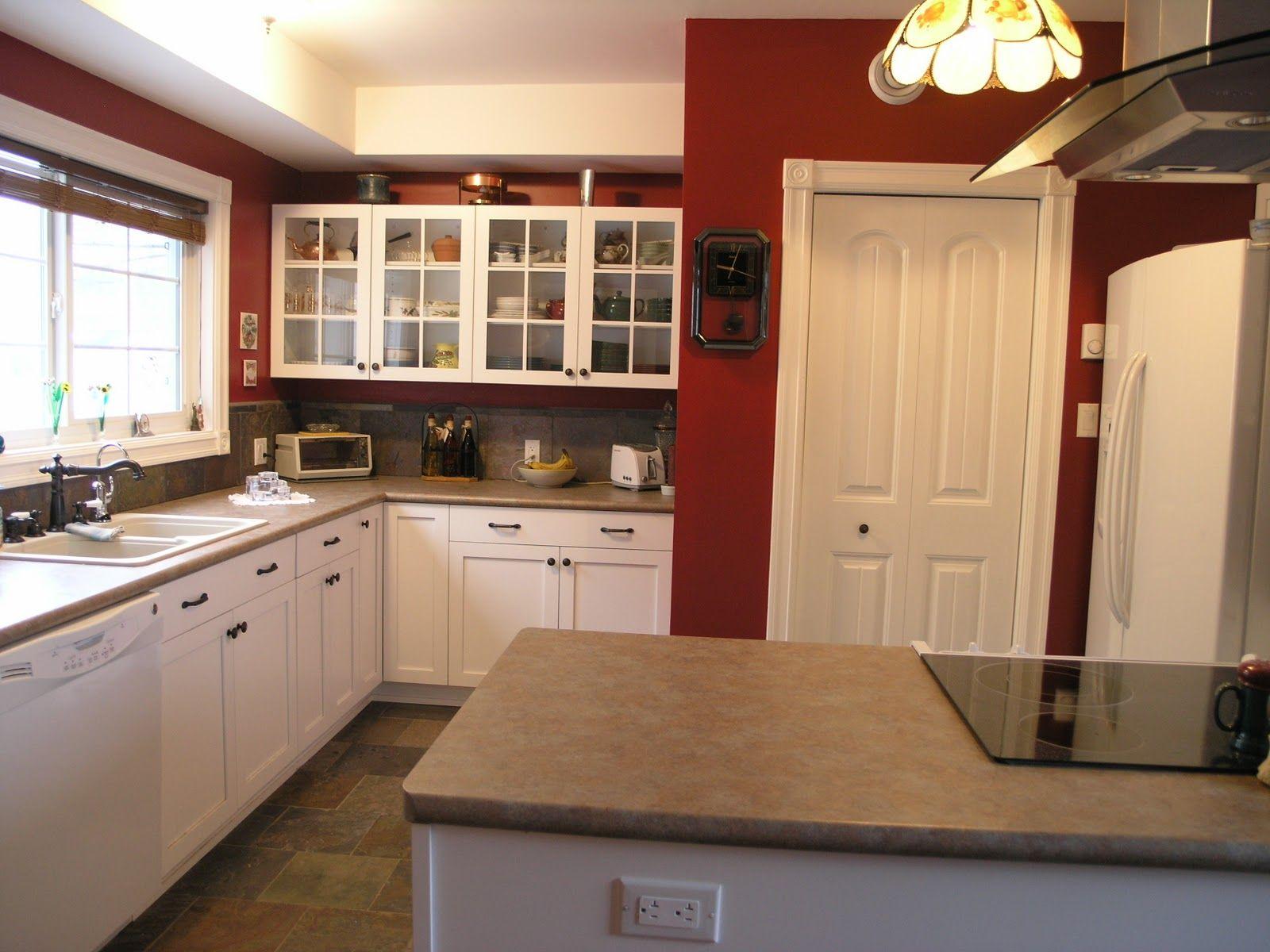 Kitchen Red Walls White Cabinets Google Search Rustic Kitchen Storage Kitchen Design Buy Kitchen Cabinets