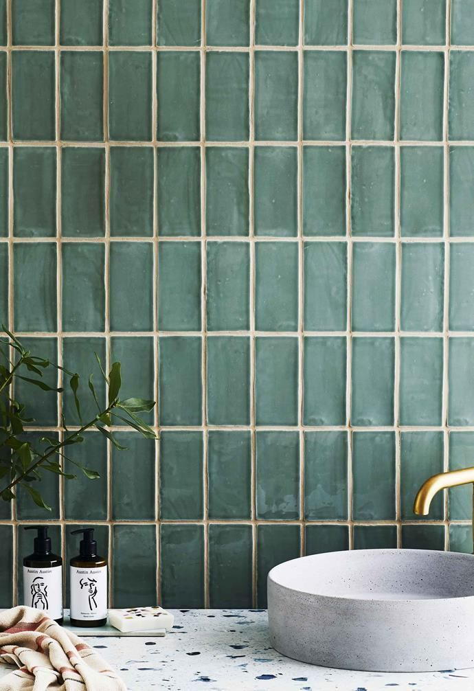 Photo of simple green bathroom design inspiration – Wall in Avalon gloss ceramic subway t…