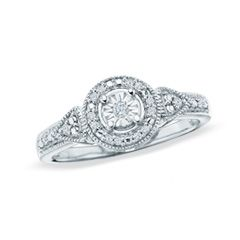 1/8 CT. T.W. Diamond Round Promise Ring in Sterling Silver - Size 7 - View All Rings - Zales