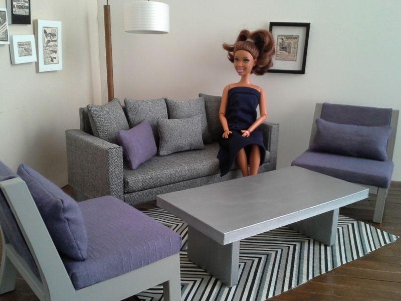 Conjunto de Muebles de Muñeca Barbie Gris