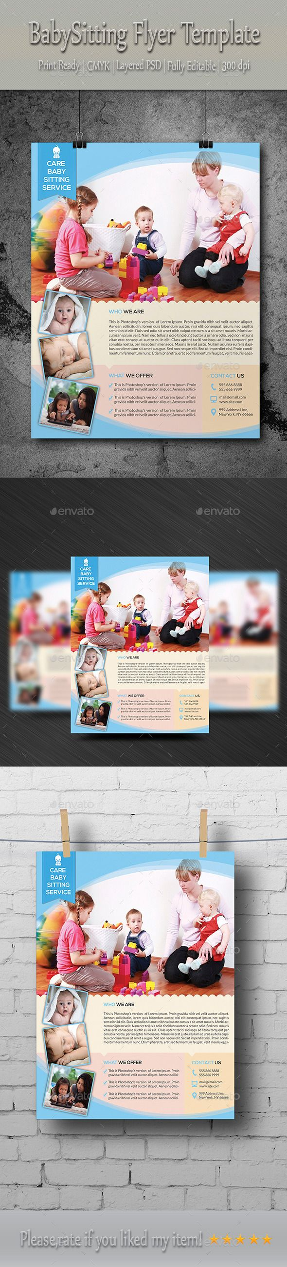 Babysitting  Daycare Flyer Template  Babysitting Flyer Template