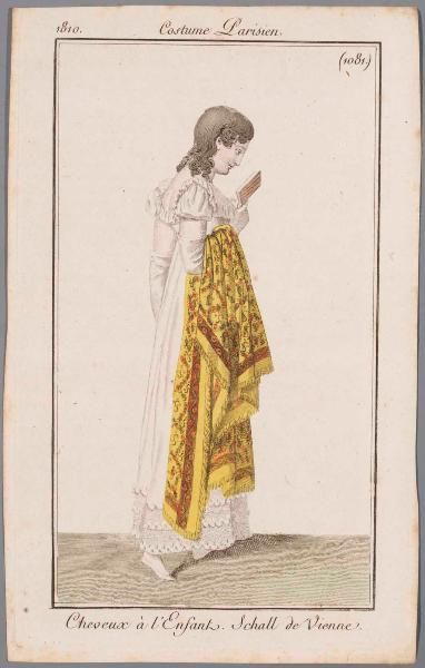 A yellow shawl, 1810 journal des dames. (Costume parisien is not the name of the magazine, it just advertises that the illustration is Parisian fashion.)