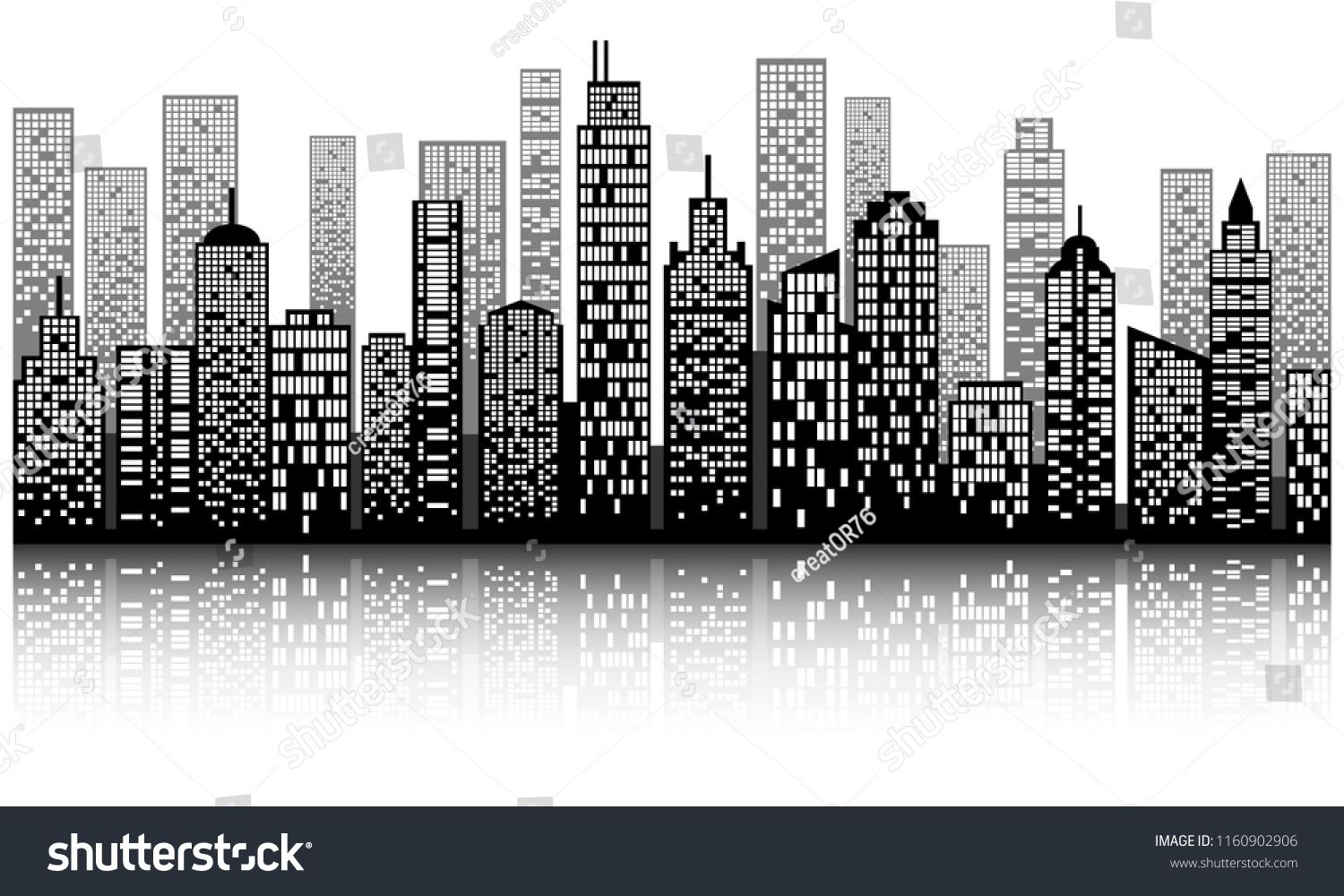 Modern city skyline with shadow, city building silhouette in night ...