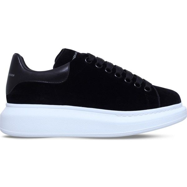 f36f393f1632 ALEXANDER MCQUEEN Show velvet and leather platform trainers ( 465) ❤ liked  on Polyvore featuring shoes