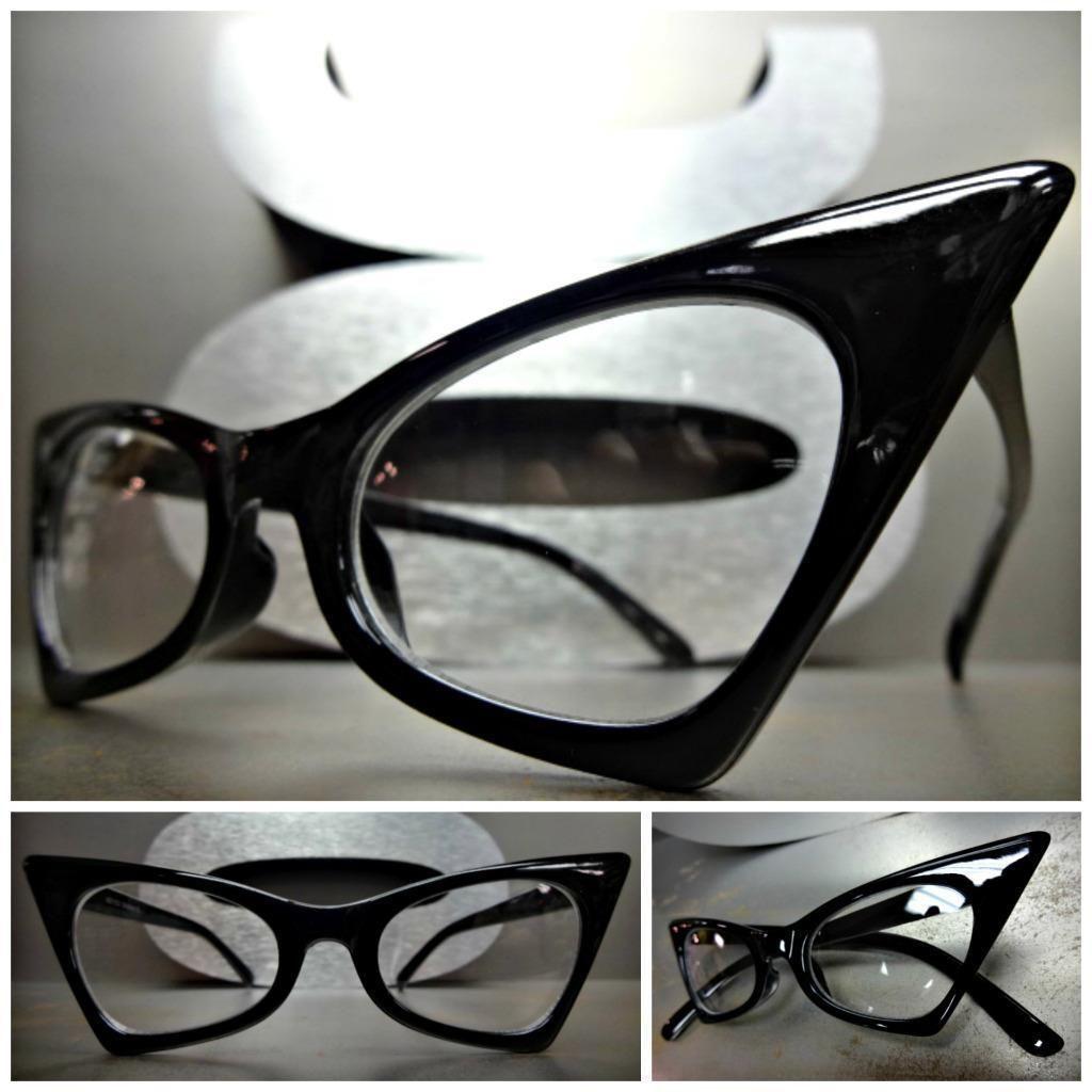 c9453991e8 Classic Vintage 50 s Retro Cat Eye Style Clear Lens Eye Glasses Black Frame