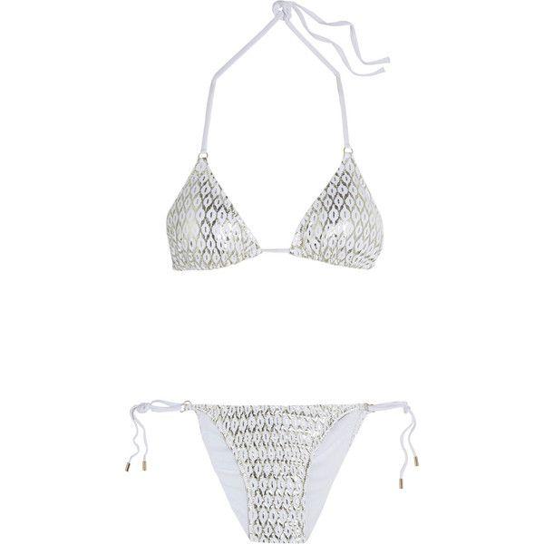 1e2c7a7cbf4 Melissa Odabash Metallic printed triangle bikini ($100) ❤ liked on Polyvore  featuring swimwear, bikinis, white, triangle bikini swimwear, metallic  bikini, ...