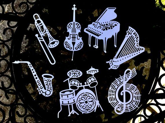 Musical Instrument Die Cut Ornaments Rock N Roll Theme Party Music Instruments