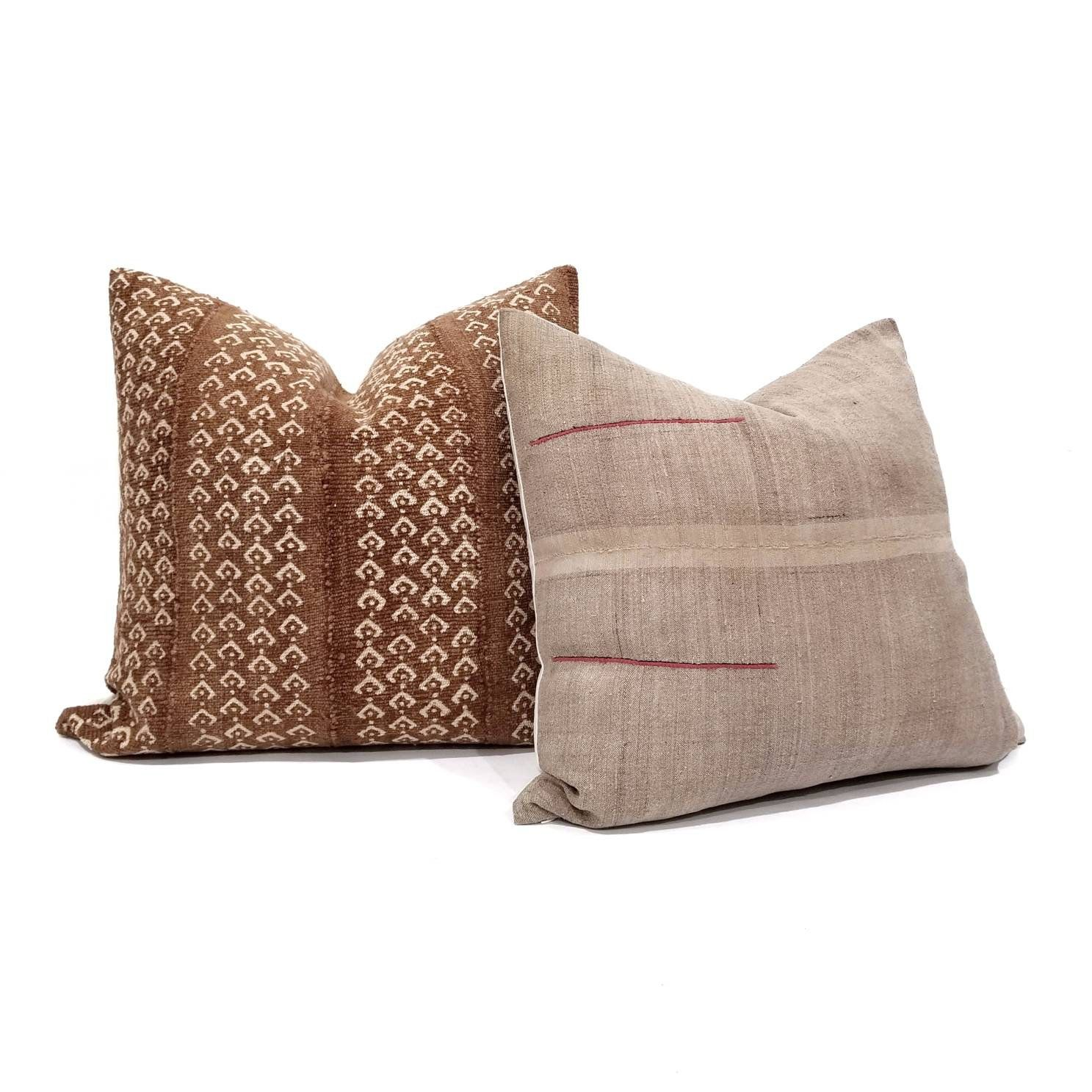 Rust Mudcloth Pillow Cover In Various Sizes Mudcloth Pillow