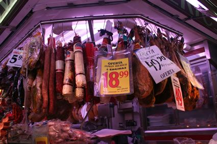 Sausages and hams at Santa Caterina market