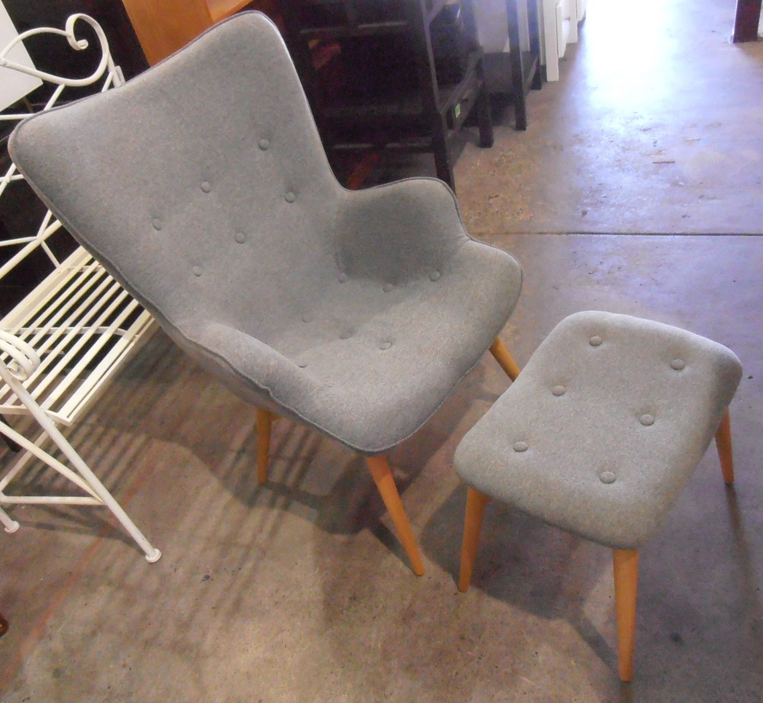 NEW Grant Featherston Side Chair Retro Grey Replica Armchair With