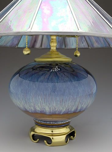Bill Campbell Pottery Lamps Tiffany Stained Glass Blown