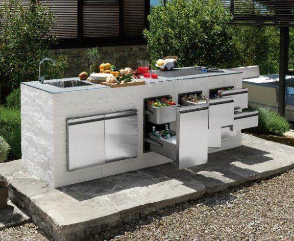 cuisine extrieure moderne avec pierre et gravier