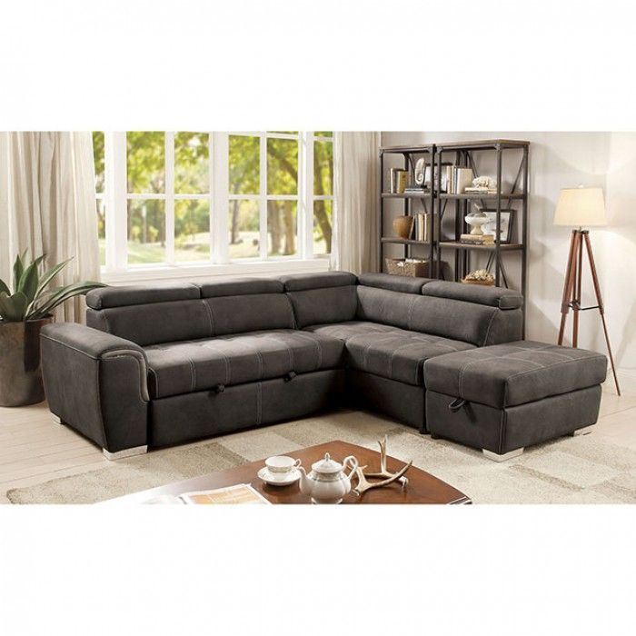 Chaise Sofa Furniture of America Henley Contemporary Upholstered Storage Pullout Sleeper Sectional with Ottoman
