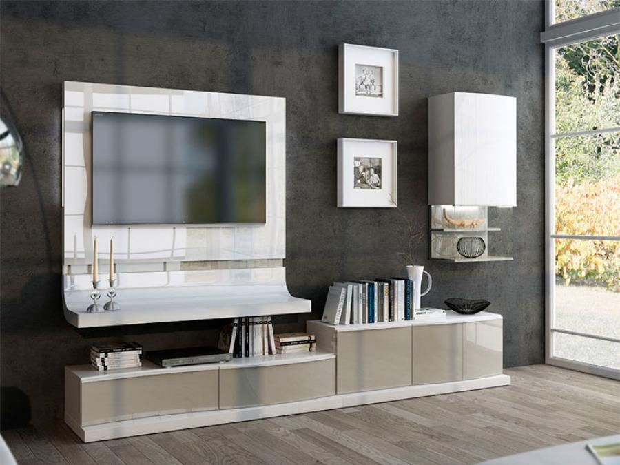 Modern Wall Storage System With Low Tv Unit Wall Cabinet And Curved Tv Panel.  Living Room ...