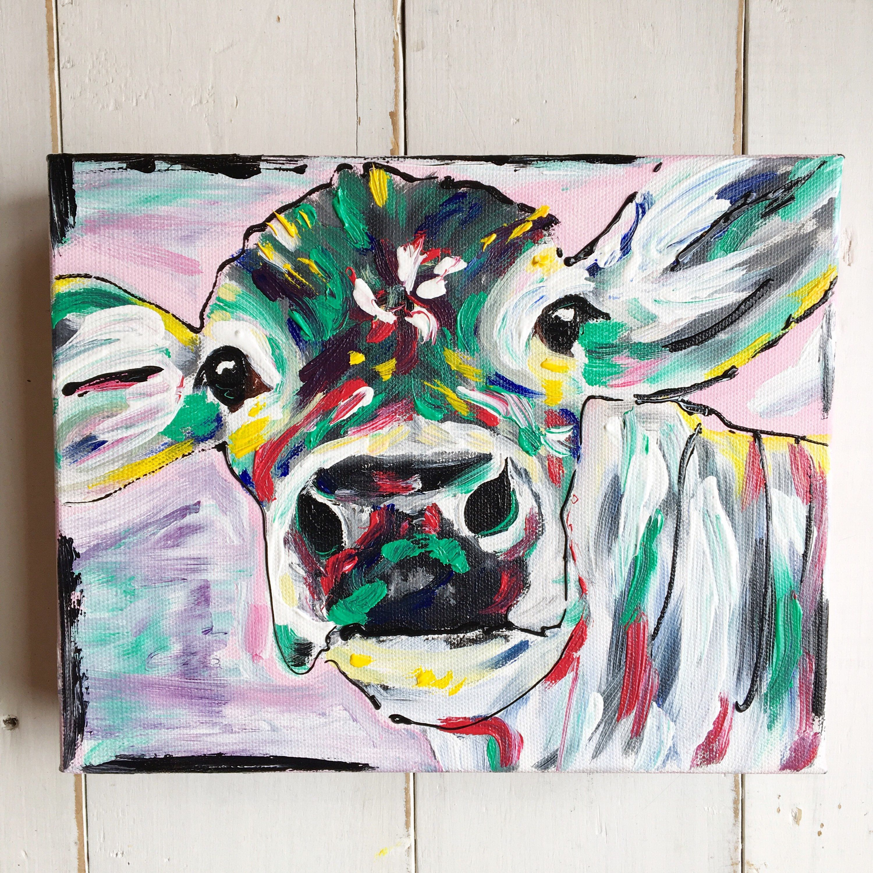 Colorful Abstract Cow On Stretched Canvas Oil Painting Cow Etsy In 2020 Cow Art Cow Wall Art Cow Painting