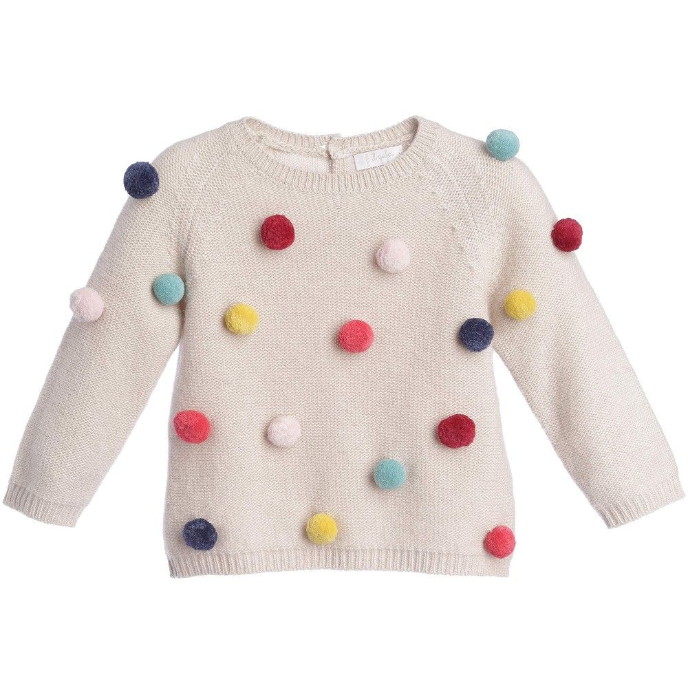 127cfae57 Girls Wool   Cashmere Pompom Sweater