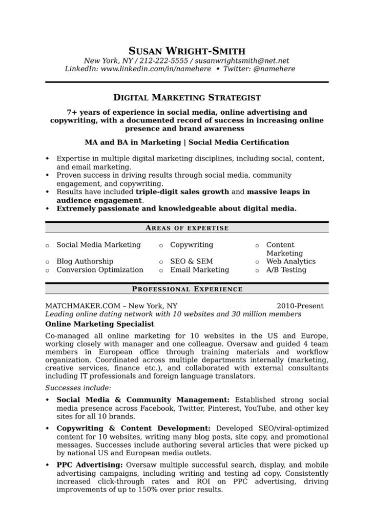 Digital_Strat 1jpg Job Pinterest Marketing Resume, Business   Sample Resume  Marketing  Resume For Marketing Job
