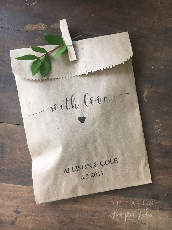 Wedding Favors - Custom Printed Favor Bags - Recycled Wedding - Treat bag Goodie Bag - Bridal Shower Favors- 25 pack