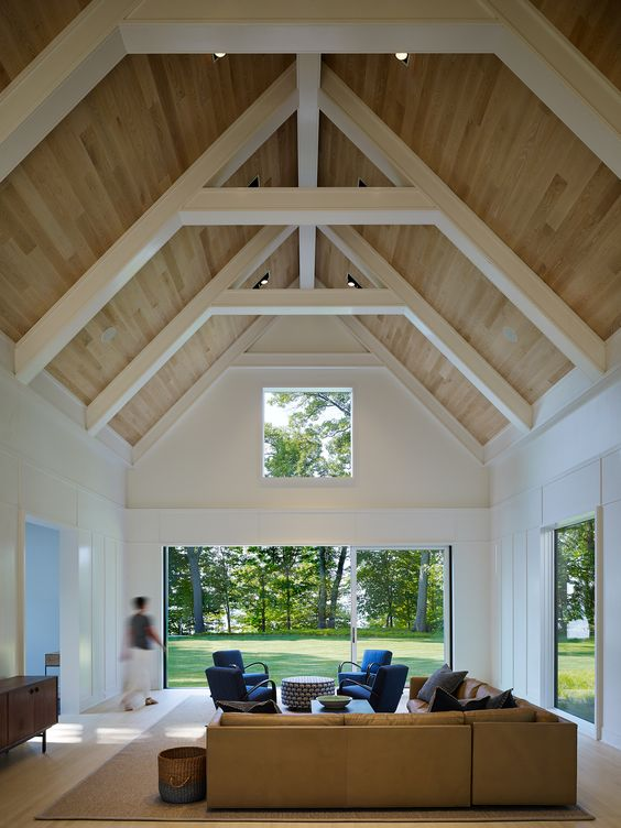 A High Vaulted Ceiling Requires More Heating Or Cooling And Changing Bulbs Up There Vaulted Ceiling Bedroom Vaulted Ceiling Decor Vaulted Ceiling Living Room