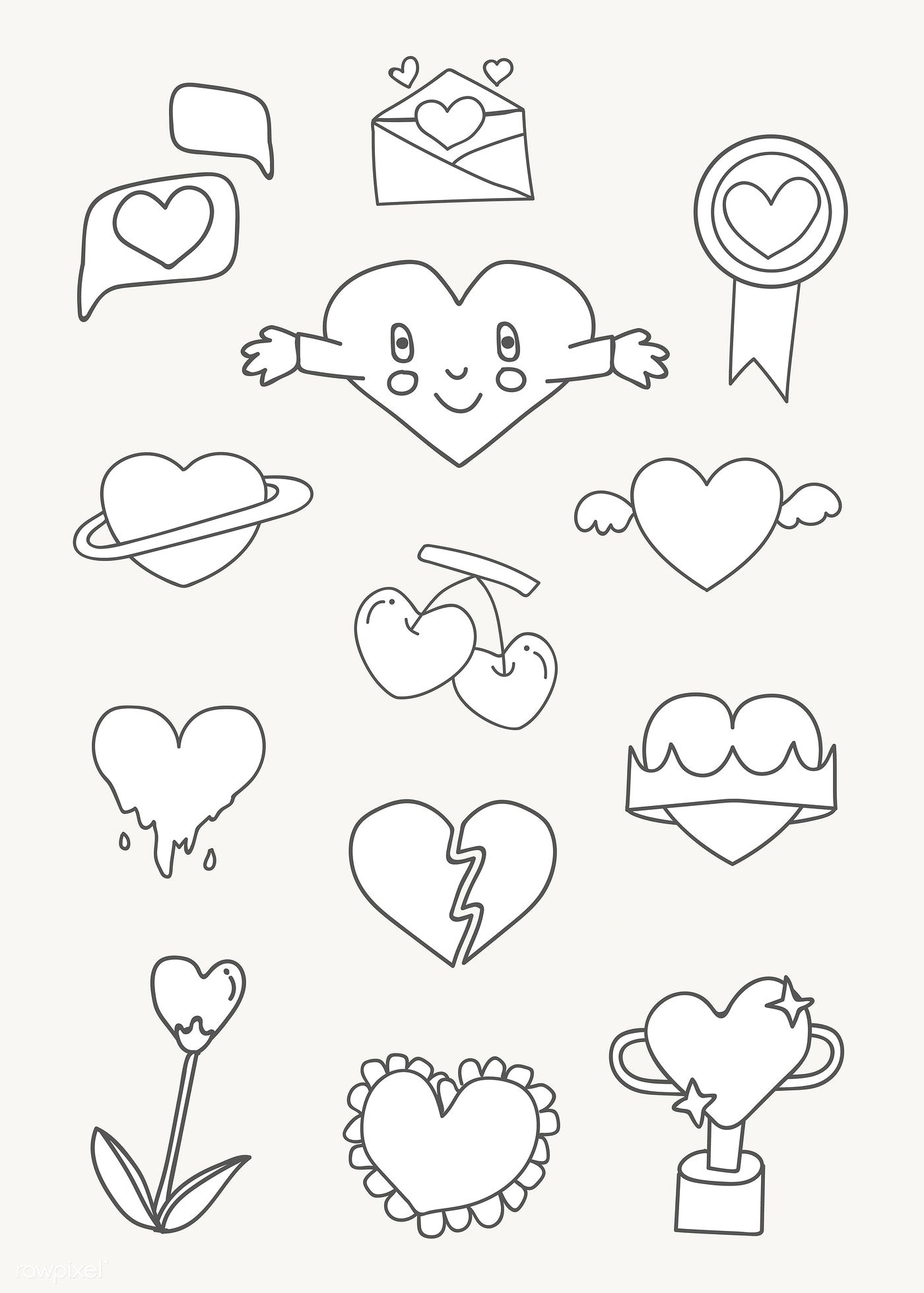 White heart design collection vectors free image by