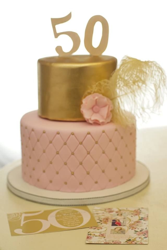 50th Birthday Cake With Gold And Pink Desserts In 2019 40th