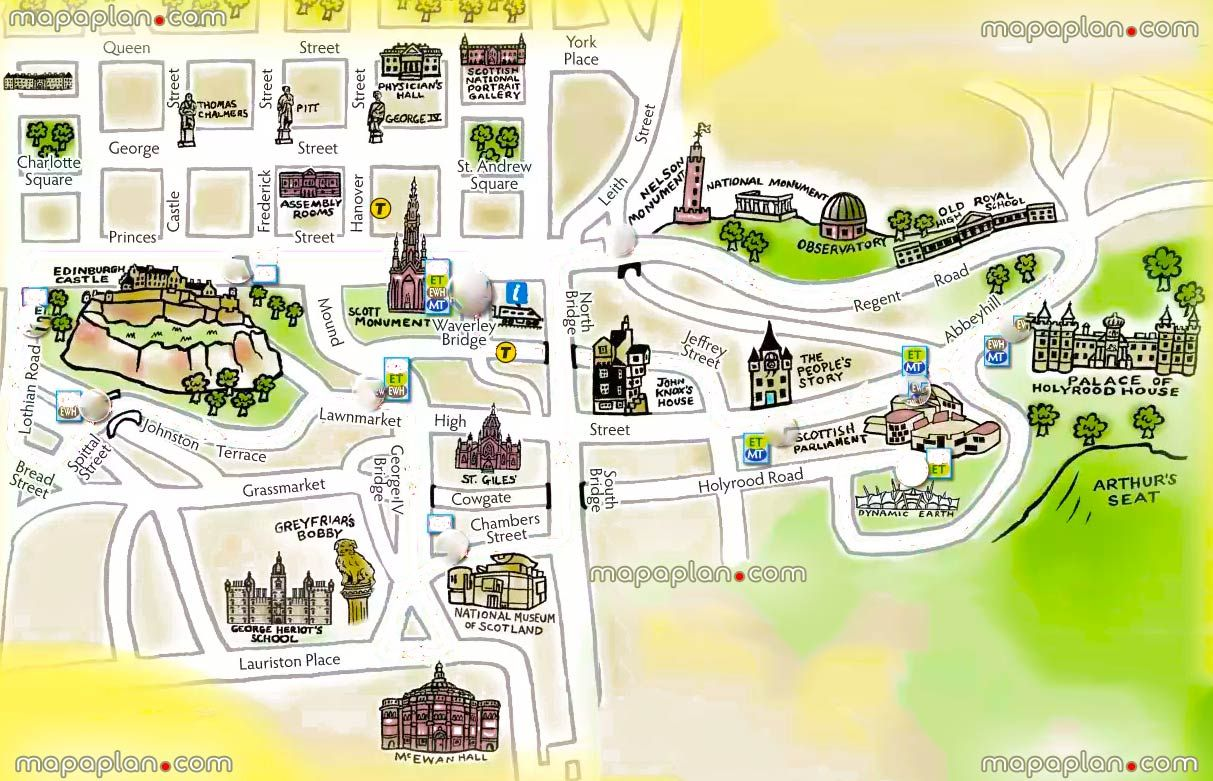 1000 images about Edinburgh printable map of top tourist – Edinburgh Tourist Map